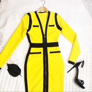 Yellow black bandage dress women's XS long sleeve